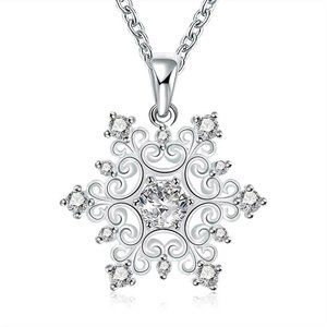 Jewelry - Silver Plated Cubic Zirconia Snowflake Pendant